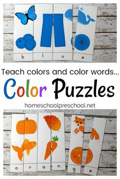 Early learners can focus on learning their colors and color words with this pack of ten printable Color Word Puzzles. Hands-on learning for little ones. via @homeschlprek