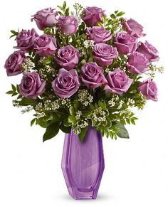 Telefloras Simply Exquisite lavender roses in a lavender keepsake glass vase