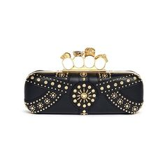Alexander Mcqueen Stud skull leather knuckle clutch ($2,695) ❤ liked on Polyvore featuring bags, handbags, clutches, black, knuckle box clutch, black skull purse, black studded purse, black leather purse and box clutch