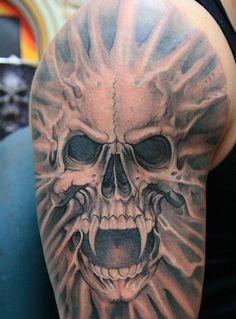 Vampire Tattoo Makes You Different: Skull Vampire Tattoo Design For Men On Sleeve ~ Tattoo Design Inspiration