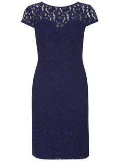 Blue lace pencil dress. I have a similar style one in champagne but coveting this too!
