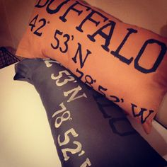 Handmade hometown pillows with latitude and longitude. Available for custom ordering.