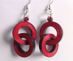 Le Rouge et le Noir 2, quilled paper earrings by Yesterday's news - today's accessories