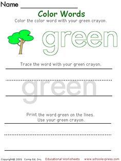 76 Best Color Word Lesson Plans Images On Pinterest