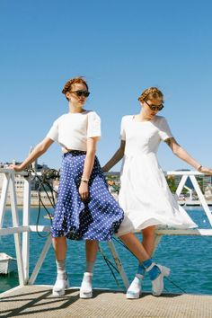 Oh we do like to be beside the seaside!  Boxy Crop Top in Ivory: http://www.thewhitepepper.com/collections/tops/products/boxy-crop-top-ivory  Blue Polka Dot Midi Skirt: http://www.thewhitepepper.com/collections/bottoms/products/polka-button-through-midi-skirt-navy  White Pleat Pocket Dress: http://www.thewhitepepper.com/collections/dresses/products/pleat-pocket-midi-dress-white  Leather Chunky Heels: http://www.thewhitepepper.com/collections/shoes/products/leather-chunky-heel-sandal-white