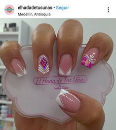 French Manicure Nails, Gem Nails, Gelish Nails, Gorgeous Nails, Perfect Nails, Pretty Nails, Long Acrylic Nails, Long Nails, Diy Beauty Nails