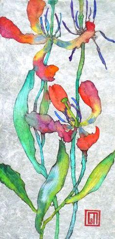 Sofia Perina-Miller/Dutch Tulips Watercolour and Pen 25 x 70 cm