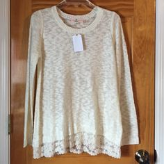 Sweater Off white/Cream laced trim sweater. Never been worn, with tags attached. Pink Republic Sweaters