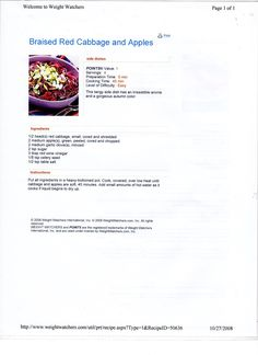 WW Braised Red Cabbage & Apples