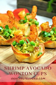 Shrimp Avocado Wonton Cup Appetizer Recipe easy and quick meals to create that l. Shrimp Avocado Wonton Cup Appetizer Recipe easy and quick meals to create that look fancy Appetizers For A Crowd, Seafood Appetizers, Easy Appetizer Recipes, Food For A Crowd, Appetizers For Party, Seafood Recipes, Cooking Recipes, Healthy Recipes, Avocado Recipes