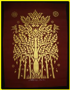 Bodhi Tree Art | Thai traditional stencil art of bodhi tree by spray paint on the ... Stencil Patterns, Stencil Art, Stencil Designs, Stencils, History Of Buddhism, Thai Design, Bodhi Tree, Thai Art, Thai Style