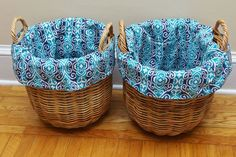How+to+Make+DIY+Basket+Liners+for+Round+Baskets With different size baskets & material - make washable kitty & dog beds the same way.
