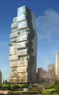 """Beirut Residential Building by Accent Design Group: """"..Cantilevering balconies and terraces take their cue from the character of the old urban fabric while creating a vertical neighborhood rich with panoramic views of the downtown, the city and the sea. Shading louvers provide relief from abundant east and west sunlight while creating zones of outdoor privacy and facilitating a green screen.."""" Curious dichotomy.."""