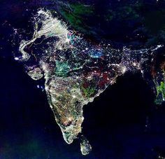Twitter / MindbIowingFact: This is how #India looks like from outer space on Diwali Night.