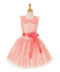 317a6eab2fce Cinderella Couture Coral Lace Ribbon-Accent A-Line Dress - Toddler & Girls