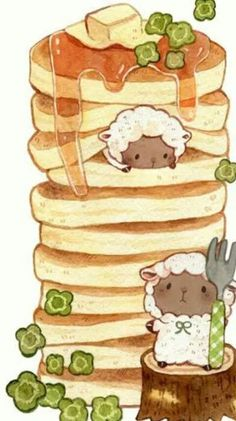 もかろーる🐹 on Really adorable sheep breakfast pancake drawing! So delicious 😋 I love drawings of food 😜 Cute Food Drawings, Cute Kawaii Drawings, Kawaii Doodles, Cute Doodles, Cute Animal Drawings, Kawaii Art, Drawing Of Food, Adorable Drawings, Sweet Drawings