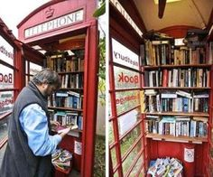 London is calling! Actually, it's Westbury-sub-Mendip's new phone booth library! After witnessing their weekly mobile library disappear, this wee town in the south of England town wasn't going to let their iconic phone booth be taken away as well. Mini Library, Little Library, Free Library, Local Library, Library Books, Mobile Library, Lending Library, Decor Scandinavian, Telephone Booth