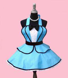 Women's Apron  Apron  Blue Tuxedo  Women's by OnceUponAPoodle, $48.95