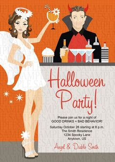 Angel And Devil Halloween Costume Adult Birthday Party Invitation 11 21st Themes