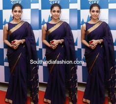 nayanthara_purple_saree_13thchennai_international_film_festival