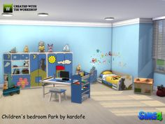 Children's bedroom, very colorful, with many applications and children's motifs on all the furniture, so that small sims have the feeling of sleeping in a park  Found in TSR Category 'Sims 4...