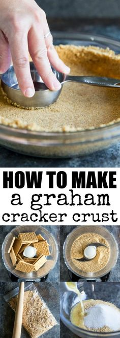 Learn how to make a Graham Cracker Crust from scra… Learn how to make a Graham Cracker Crust from scratch! The homemade version is sweet, buttery, and miles ahead of anything you can buy at the store. Homemade Graham Cracker Crust, Graham Cracker Recipes, Cheesecake Crust, Homemade Cheesecake, Cheesecake Recipes, Fun Desserts, Delicious Desserts, Dessert Recipes, Pie Recipes