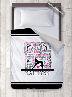 Words of Gymnastics Typography Personalized Duvet Cover