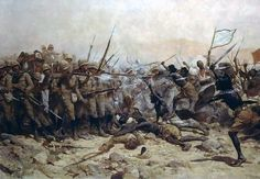 William Barnes Wollen. The Battle of Abu-Klea. 1896. Wollen was a member of The Artists Rifles, who have loaned the painting to the National Army Museum.