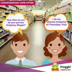 Conversaciones en inglés. Uso de la pregunta How often? (¿Qué tan seguido?) Ejemplo:  -¿Qué tan seguido haces tus compras del supermercado, Lisa? -Yo hago mis compras los jueves Paul.
