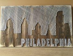 Arte de cadena de horizonte de Filadelfia por StringKits en Etsy