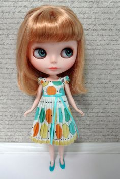 Pleated Yellow, Orange and Aqua Dots Vintage Handkerchief Blythe Doll Dress. $35.00, via Etsy.