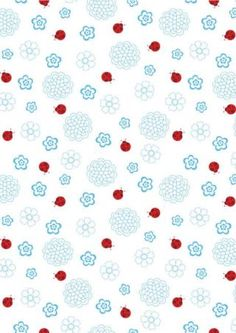 Blue Flowers and Ladybugs Scrapbook Paper
