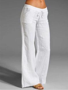 70s Bohemian White Lace Pants Loose Straight Leg Fit Plus Size XL Size L