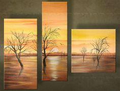 Ručne maľovaný obraz STROMY 3 dielny 3769FA