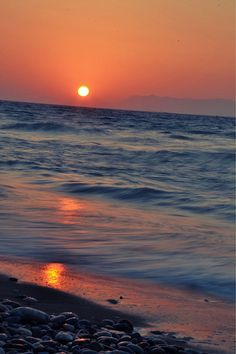 Amazing sunset at Ialyssos Rhodes from the beach ❤ Places To See, Places Ive Been, Greece Rhodes, Amazing Sunsets, Celestial, City, Beach, Travel, Outdoor