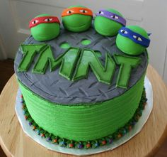 Teenage Mutant Ninja Turtles Cake, had to post this one for my son. He loved the Ninja Turtles! Make pink instead of green for super hero theme. Ninja Turtle Party, Ninja Turtles, Ninja Turtle Cakes, Ninja Turtle Birthday Cake, Ninja Cake, Teenage Turtles, Ninja Party, Tmnt Cake, Lego Cake