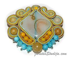 Soutache Brooch The Blue Cloud for Spring and by SoutageDreams