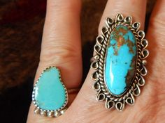 size 8 fancy old pawn turquoise ring Native American jewelry Navajo southwest jewelry by CherokeeKachinaCasey on Etsy