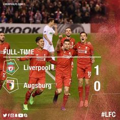 FULL-TIME: The Reds are into the last 16 of the UEFA Europa League after a 1-0 win over FC Augsburg.