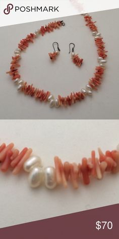 Natural corals and pearl necklace Natural corals and pearl necklace , size 17 inches necklace , 1.5 inches earrings , brand new , bundle to save for shipping Jewerly Jewelry Necklaces