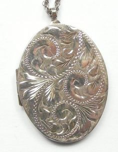 Vintage 1970s Sterling Silver Locket on Chain