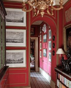 Interior Design Gallery of Interior Design Projects of Drawing rooms, Bedrooms and Halls Red Interiors, Beautiful Interiors, Interior Architecture, Interior And Exterior, Interior Design Gallery, London Apartment, Red Rooms, Red Walls, Interior Decorating