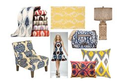"PUBLISHER'S PICKS | EVERYTHING IKAT | Cropping up everywhere from high fashion runways to textiles for the home, the tribal-inspired ikat pattern is one design trend that isn't going anywhere fast. Our Publisher, Linda Luongo Donnelly is wild about this hot-design trend. Ikat is a ""reverse"" method of dyeing and weaving. Instead of being applied to a woven fabric, the dye is applied to threads in a painstaking process, prior to the weaving of the cloth."