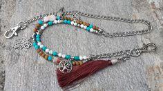 Bohemian Spiritual Silver Wallet Chain, Gemstone Tassel Wallet Chain, Silver Charm Chain, Beaded Chain, Jean Chains, Mens Boho Gift