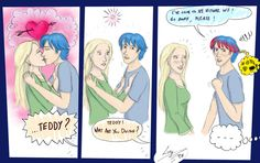 Teddy and Victoire- love how his hair starts to turn pink instead of him blushing Harry Potter Puppets, Potter Puppet Pals, Harry Potter Comics, Harry Potter Spells, Harry Potter Ships, Harry James Potter, Harry Potter Fan Art, Harry Potter Fandom, Harry Potter Jk Rowling