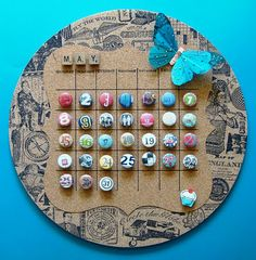 DIY Cork Board Calendar/ covered buttons glued to flat-top tacks