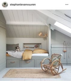 26 Rustic Bedroom Design and Decor Ideas for a Cozy and Comfy Space - The Trending House Attic Bedroom Designs, Attic Rooms, Small Space Interior Design, Kids Room Design, Upstairs Bedroom, Kids Bedroom, Rooms Decoration, Loft Room, Kid Spaces