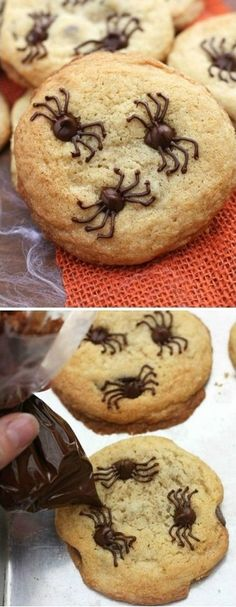 Chocolate Chip Spider Cookies make the perfect fun and easy Halloween treat! Halloween Desserts, Halloween Cookies Decorated, Halloween Baking, Halloween Chocolate, Holiday Desserts, Holiday Baking, Diy Halloween, Scary Halloween Cookies, Easy Halloween Treats