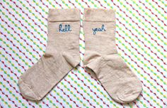 Hell Yeah embroidered socks / Chaussettes brodées Hell Yeah $13.41