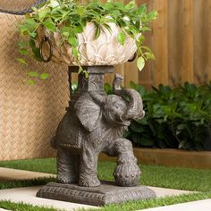 Add beauty and grace to your garden with the Bombay Outdoors Assam Elephant Planter. Exquisitely crafted with great attention to detail, the elephant balances a lotus shaped bowl on its majestic head Resin Planters, Urn Planters, Decorative Planters, Indoor Planters, Indoor Outdoor, Outdoor Living, Outdoor Decor, Decorative Pillows, Outdoor Privacy